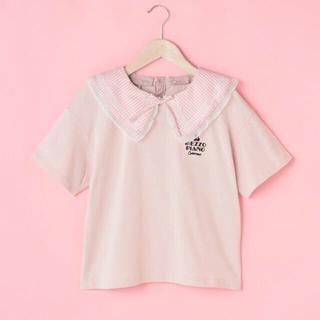 メゾピアノジュニア(mezzo piano junior)のメゾピアノ新品新作タグ付きギンガムビッグカラー半袖Tシャツ140、160(Tシャツ/カットソー)