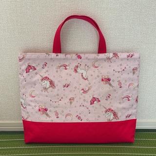 キラキラユニコーンと星 レッド レッスンバック 絵本袋(バッグ/レッスンバッグ)