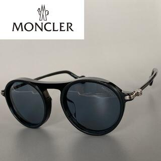MONCLER - モンクレール ラウンド サングラス ブラック ブルー レオン パントスタイル 黒