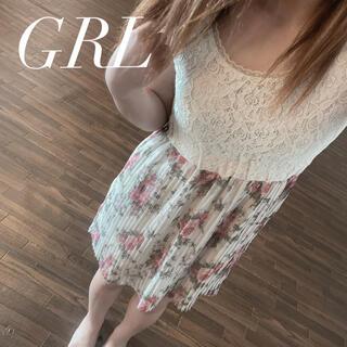 GRL - GRL レースプリーツワンピース ローズ柄ワンピース