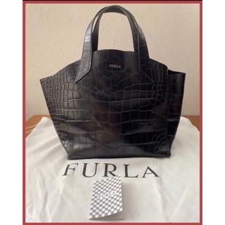 Furla - FURLA フルラ クロコ型押し  トートバッグ ブラック ハンドバッグ