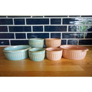 フランフラン(Francfranc)のピンク ブルー グラタン皿 ココット 北欧食器 6点セット【新品未使用】(食器)