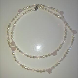 ☆美品☆あこや真珠&ローズクォーツロングネックレス(ネックレス)