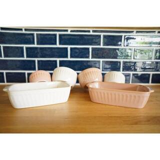フランフラン(Francfranc)のピンク ホワイト グラタン皿 ココット 北欧食器 6点セット【新品未使用】(食器)