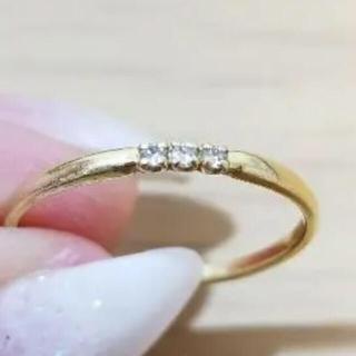 お値下げ‼︎ K18 イエローゴールド 華奢リング ダイヤモンド 13号(リング(指輪))