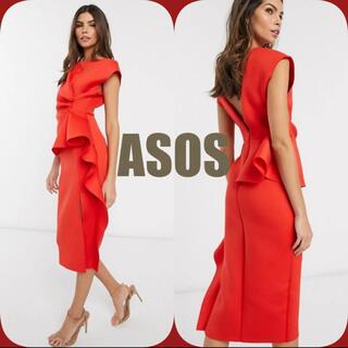asos - ✿新品未使用‼ASOSペプラムペンシルミディドレス