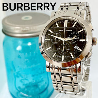 BURBERRY - 61 バーバリー時計 メンズ腕時計 ブラック 人気 シルバー クロノグラフ