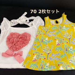 ユニクロ(UNIQLO)のトップス 70 女の子 2枚セット(Tシャツ)
