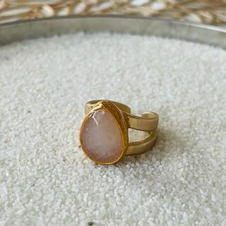 ◎天然石◎ホワイトのしずく形ゴールドリング*06108