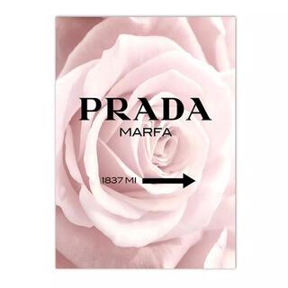 残り1点⭐︎A4 バラ×プラダ PRADA コットンキャンバス ポスター(アート/写真)