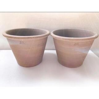 2個セット♪イタリア製 鉢 植木鉢 グレー テラコッタ 素焼き 陶器(プランター)