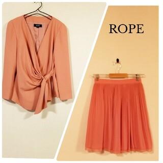 ロペ(ROPE)のROPE ロペ スーツ セットアップ スカート プリーツ スカート ピンク(ひざ丈スカート)