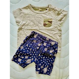 ユニクロ(UNIQLO)の【80cm】UNIQLOストレッチショートパンツ&半袖Tシャツ2点セットA696(Tシャツ)