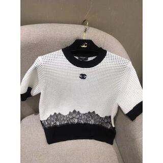シャネル(CHANEL)のCHANEL coco ロゴ刺繍 カットアウト ニット 半袖(ニット/セーター)