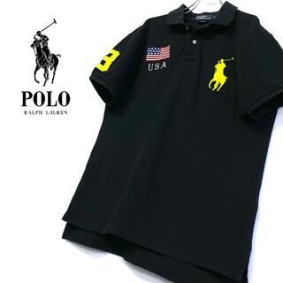 POLO RALPH LAUREN - 古着 Ralph Lauren ビッグポニー ポロシャツ メンズL ブラック