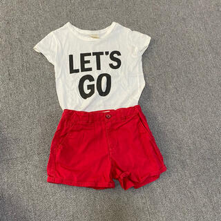 ザラ(ZARA)のZARA 女の子120 夏セット 赤ショーパン&白ロゴT(Tシャツ/カットソー)