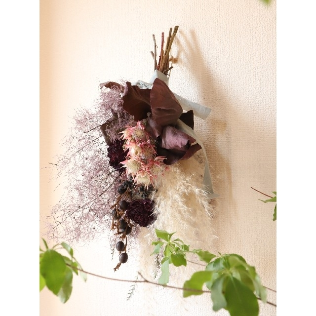 銅葉とパンパスグラスの夏越しスワッグ。スモークツリー。ドライフラワースワッグ ハンドメイドのフラワー/ガーデン(ドライフラワー)の商品写真
