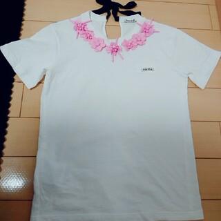 ミュウミュウ(miumiu)のMIUMIU ビジュー リボンTシャツ(Tシャツ(半袖/袖なし))