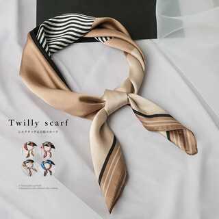 スカーフ レディース 首巻き 配色 バンダナ ツイリースカーフ シルク風リボン
