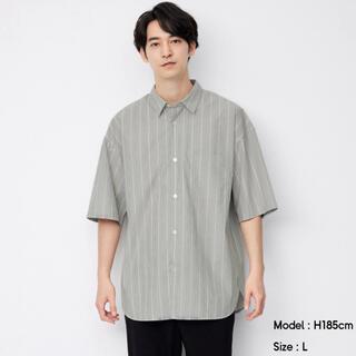 ジーユー(GU)のGUブロードオーバーサイズシャツ(5分袖)(ストライプ)  Mサイズ ジーユー(シャツ)