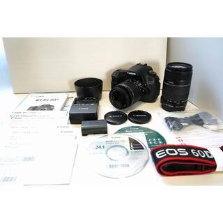 キヤノン(Canon)のCANON EOS 60D ダブルズームキット 美品 送料無料(デジタル一眼)