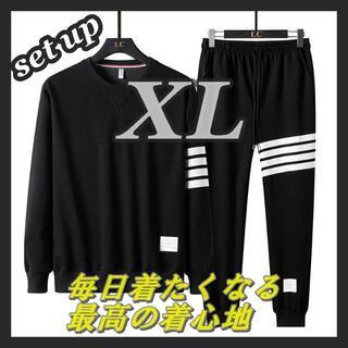 メンズ セットアップ 長袖 スウェット ブラック XL