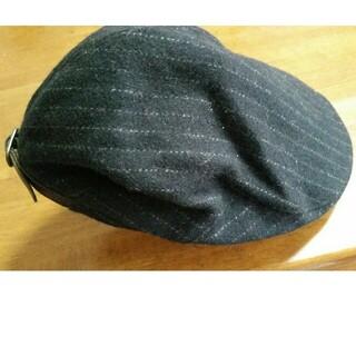 ユニクロ(UNIQLO)のUNIQLO ユニクロ 黒 ストライプ ハンチング 帽子(ハンチング/ベレー帽)