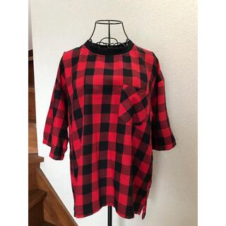ジーユー(GU)のジーユーGU 赤黒チェックシャツ半袖 M メンズ(シャツ)
