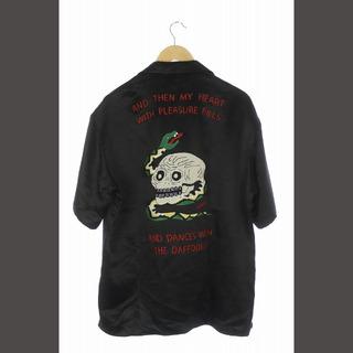 Gucci - グッチ シャツ 半袖 オープンカラー 刺繍 サテン 50 黒 /MY ■OS