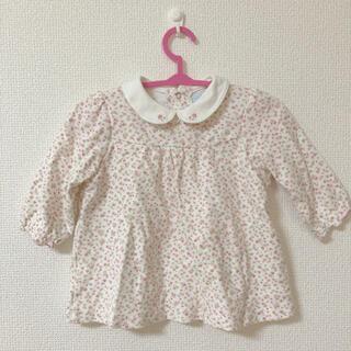 ミキハウス(mikihouse)のミキハウス トップス 長袖 70 mikihouse 花柄 ピンクの花 刺繍(Tシャツ)