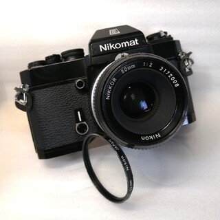 ニコン(Nikon)の美品★50mmF2、露出計作動ニコン Nikomat ELブラックオマケ(レンズ(単焦点))
