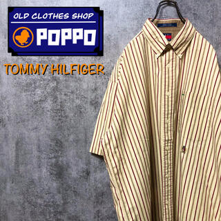 TOMMY HILFIGER - トミーヒルフィガー☆オールド刺繍ロゴ半袖レトロストライプシャツ 90s