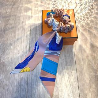 エルメス(Hermes)の【新品未使用】エルメス シュシュ ピンクベージュ、白、青、水色(ヘアゴム/シュシュ)