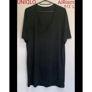 UNIQLO - ユニクロ エアリズム Vネック 黒 サイズL