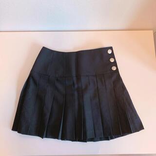 プライベートレーベル(PRIVATE LABEL)の新品!制服コーデにも使える☆シルバーボタン付きプリーツスカート(ブラック)(ミニスカート)