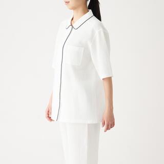 ムジルシリョウヒン(MUJI (無印良品))の無印 脇に縫い目のない ワッフル織り 半袖パジャマ ホワイト(パジャマ)
