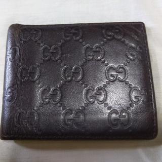 グッチ(Gucci)のbaiya gucci グッチ 折財布 メンズ 薄手 焦げ茶 ロゴ(折り財布)