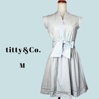 titty&Co. ミニワンピース リボン ストライプ M