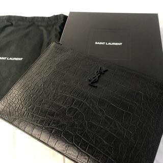 Saint Laurent - 美品 確実正規品 サンローラン クロコ 型押し クラッチバッグ ブラッグ 黒