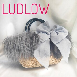 ラドロー(LUDLOW)のラドロー LUDLOW ファー シフォンリボン 大きめ かごバッグ(かごバッグ/ストローバッグ)
