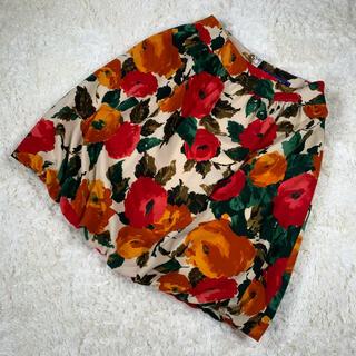エムズグレイシー(M'S GRACY)のM'S GRACY エムズグレイシー バルーン フレア 総柄 花 フラワー 花柄(ひざ丈スカート)