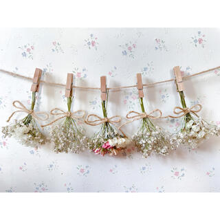 かすみ草と淡い3種のバラのホワイトドライフラワーガーランド♡スワッグ♡ミニブーケ(ドライフラワー)
