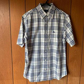 BURBERRY - 【バーバリーブルーレーベル】L 三陽商会正規品 刺繍ロゴ半袖BDチェックシャツ白