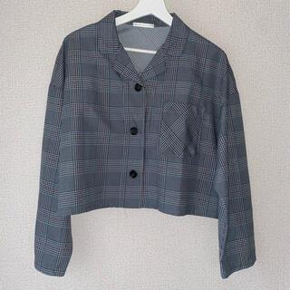 ナイスクラップ(NICE CLAUP)のチェッククロップ開襟シャツ(シャツ/ブラウス(長袖/七分))