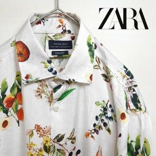 ZARA - ZARA ザラ 総柄 レーヨン 果物 長袖 シャツ ホワイト M/L