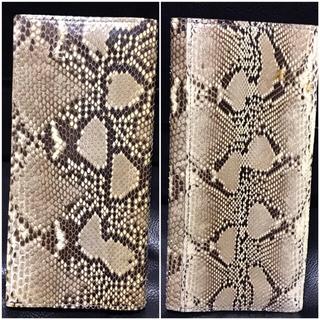 未使用パイソン天然革レザーウォレット送料込ヘビ蛇皮ライダースミリタリーカジュアル(長財布)