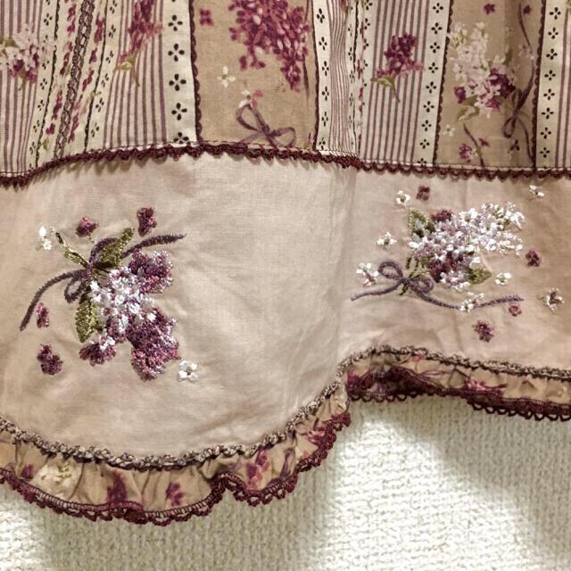 PINK HOUSE(ピンクハウス)のPINK HOUSE ブラウス フリル ブーケ刺繍 美品 レディースのトップス(シャツ/ブラウス(半袖/袖なし))の商品写真