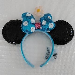 Disney - 海外ディズニー ミニーカチューシャ 水玉スパンコールリボン&お花