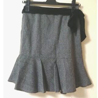 美品 膝丈スカート リボン付(ひざ丈スカート)