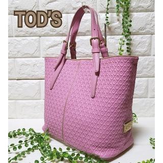 トッズ(TOD'S)の美品 TOD'S トッズ レザー トートバッグ ハンドバッグ ピンク(トートバッグ)